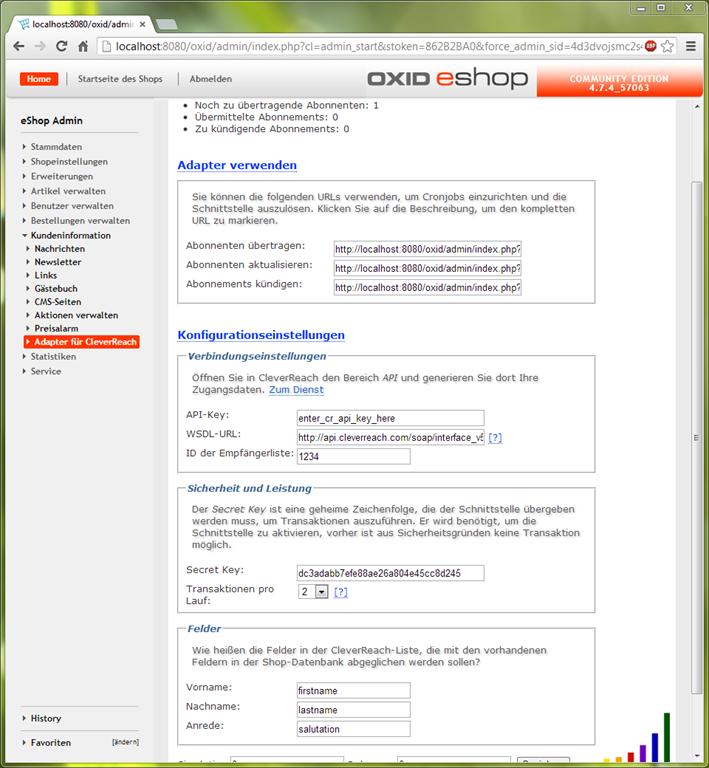 Cleverreach: Ackis Oxid-Blog