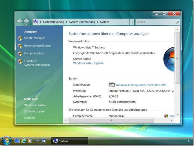 Vista-Systemeigenschaften